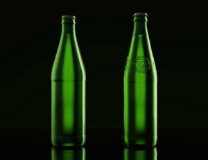 Porównanie butelek piwa Łomża - po lewej stara, po prawej nowa